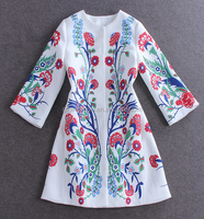 Hot sale high quality fashion europe style three quarter sleeve Jacquard fabric printing digital coat
