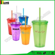 24oz durable Assorted Colors plastic cup with colorful straw