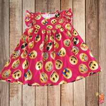 Hot fashion 2017 new arrival red emoji printing frocks design dress best selling wholesale children's boutique clothing