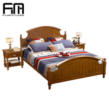 2018 simple antique american brown solid wood bed room furniture bedroom set