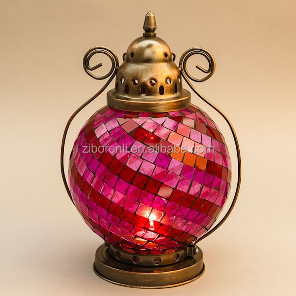 Hot Sale Colored cheap Glass Mosaic Lantern Hanging Tealight holder with lifting handle