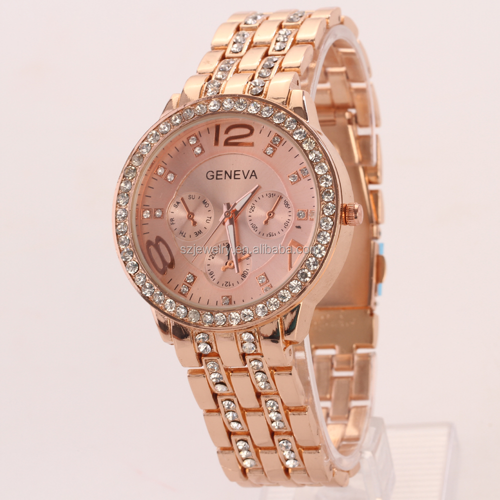 New Design Luxury Fashion Diamond Women Quartz Goldlis Watch Chinese Wholesale Distributors
