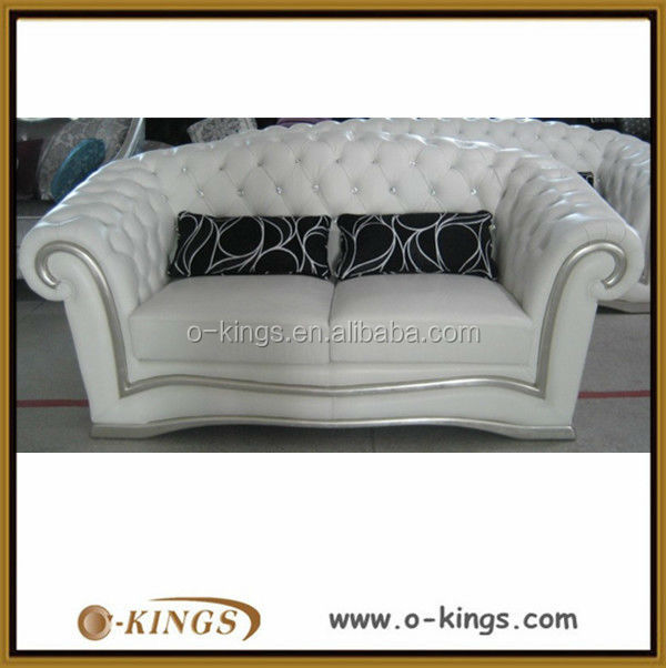 White genuine leather 2 seater sofa with brass nail decoration