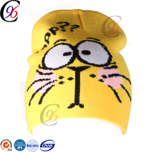Chengxing wholesale factory price custom children winter sports knit acrylic beanie printed crocheted hat