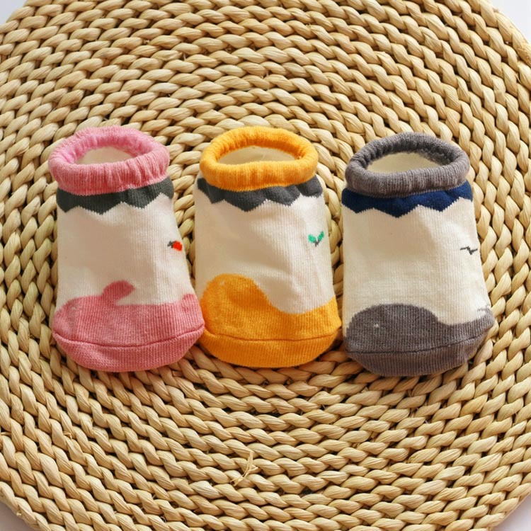 S64288A New Fashion Kids Socks Solid Cartoon Cotton Baby Knitted Socks