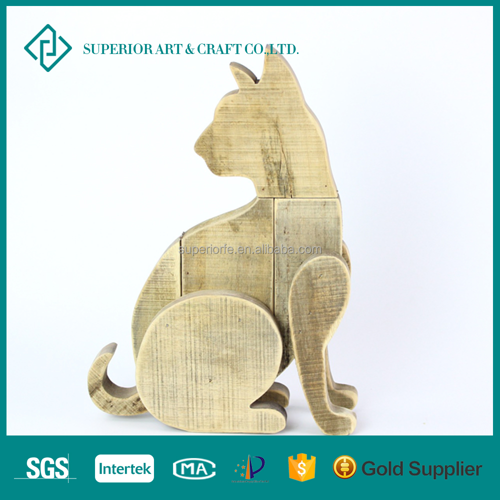 Shabby Chic Wooden Carving Home Decor Dog