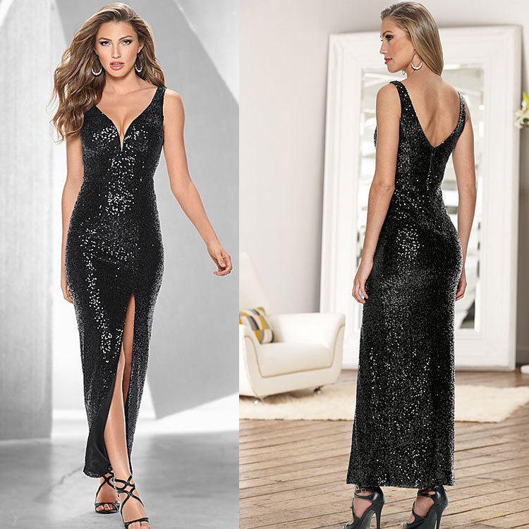 ZH0073G Sexy Womens Long Sequin Formal Ball Cocktail Prom Dress Party Dress Evening Gown