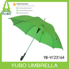 "23""*8K green color solid pongee 100% polyester fabric auto straight aluminum shaft fiberglass frame windproof umbrella"