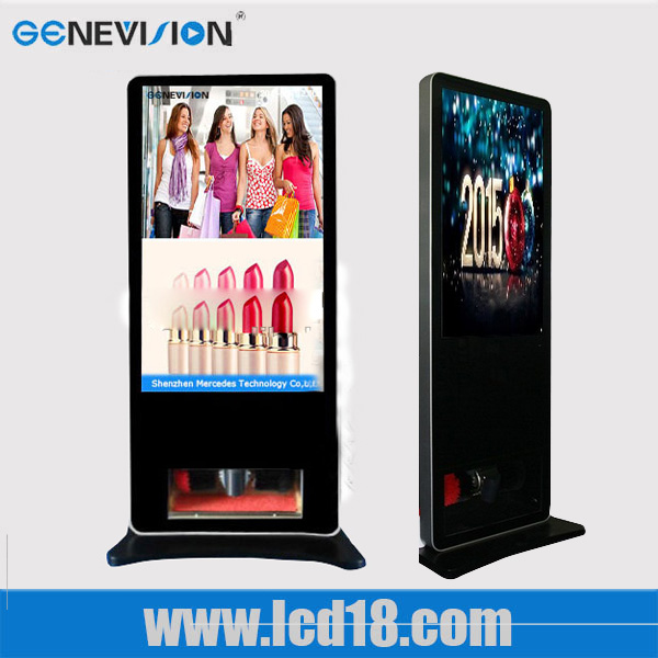 building Lcd Advertising Player With Shoe shine Clean Machine android system touch screen smart media signage