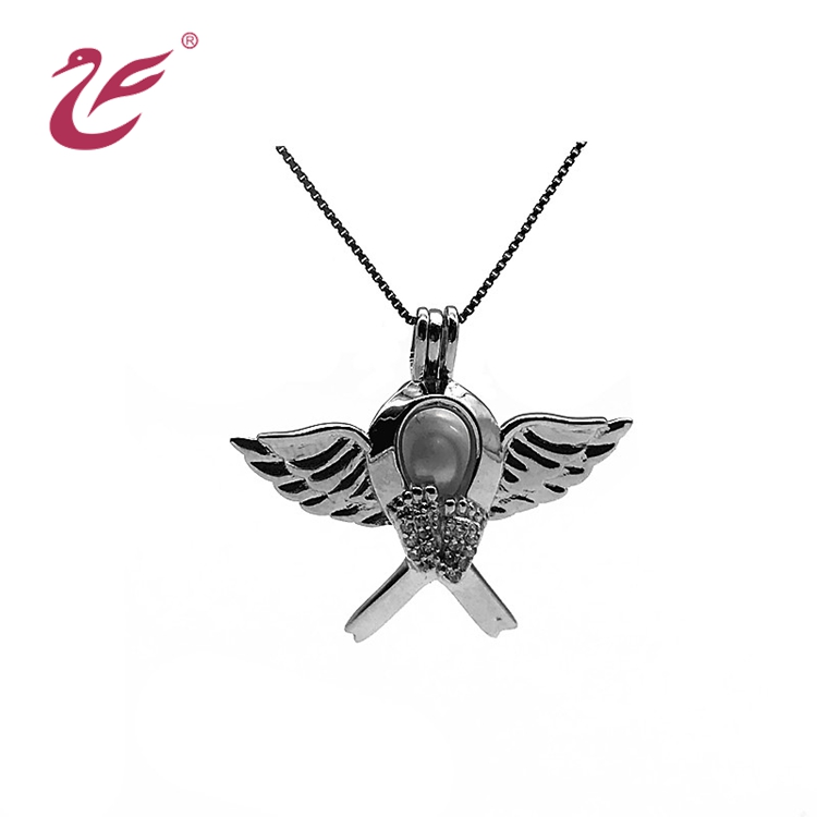 Jewelry Locket 925 Sterling Silver Angle Wing Bird Pearl Cage Pendant