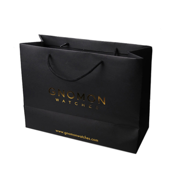 Embossing and logo gold foil custom printed black high quality paper gift bag