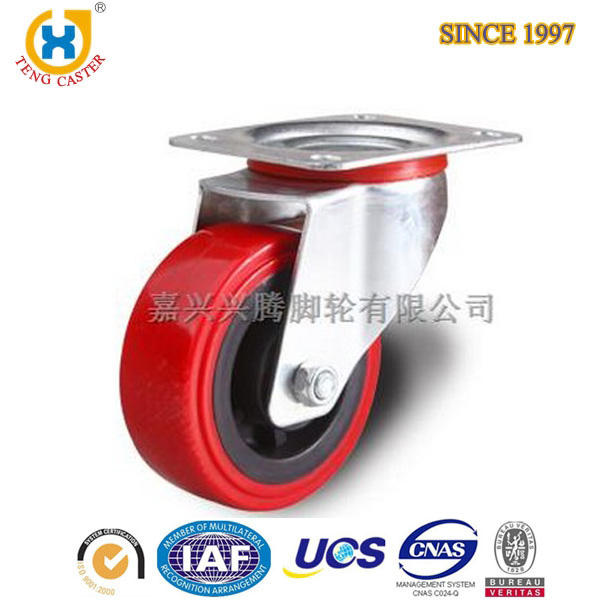 6 inch Heavy Duty Polyurethane Swivel Caster Wheels Base With Dust Covering,Top Plate,Dual Ball Bearing,200KG.