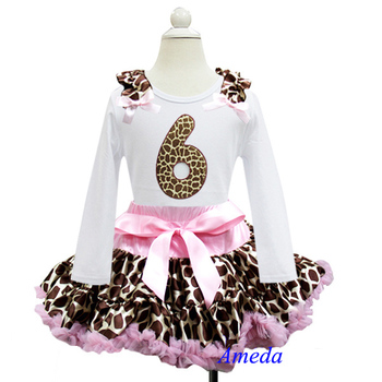 Light Pink Brown Giraffe Pettiskirt With 6th Birthday White Long Sleeves Tee 1-7Y