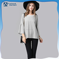 Wholesale pearl beaded neck design bell sleeve blouse oversized tshirt women