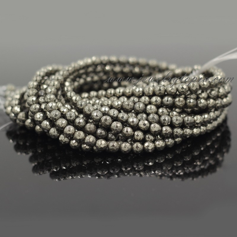 Wholesale Cheap Natural Stone Pyrite Faceted Beads 4mm 6 8 10 12mm