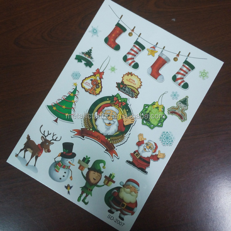 Christmas tattoo stickers, new years flash tattoo, custom temporary tattoo stickers