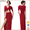 Red Color Sexy Short Sleeve Dresses ,High Side Slit Long Dress for Women