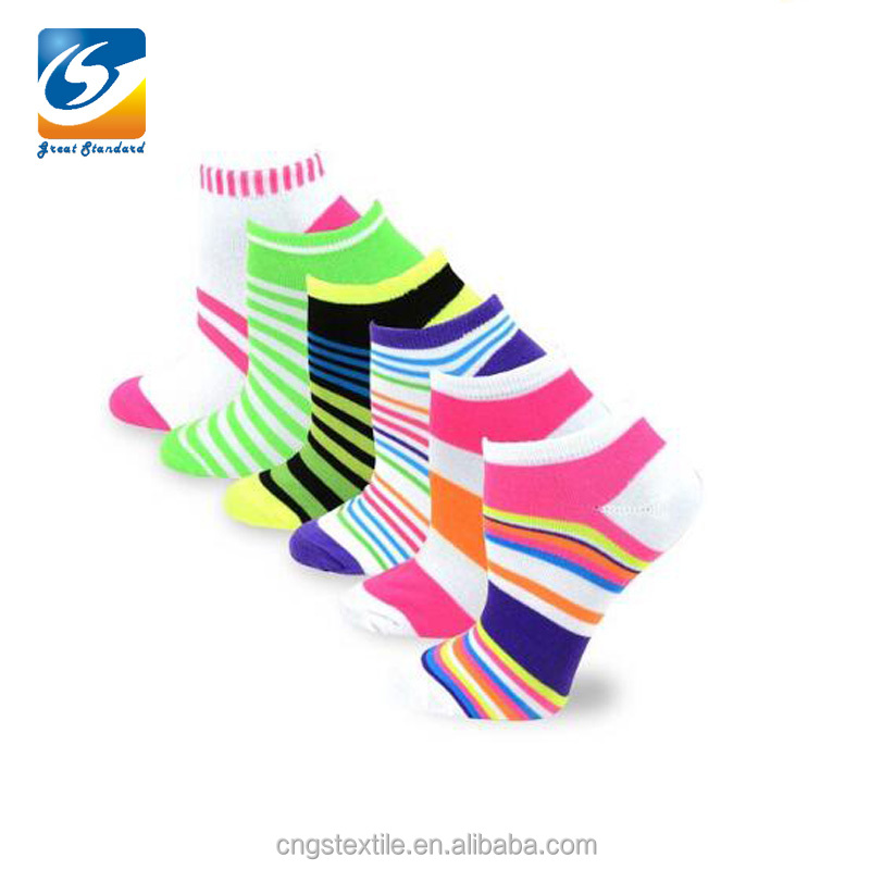 Custom colored stripes ankle socks cotton women