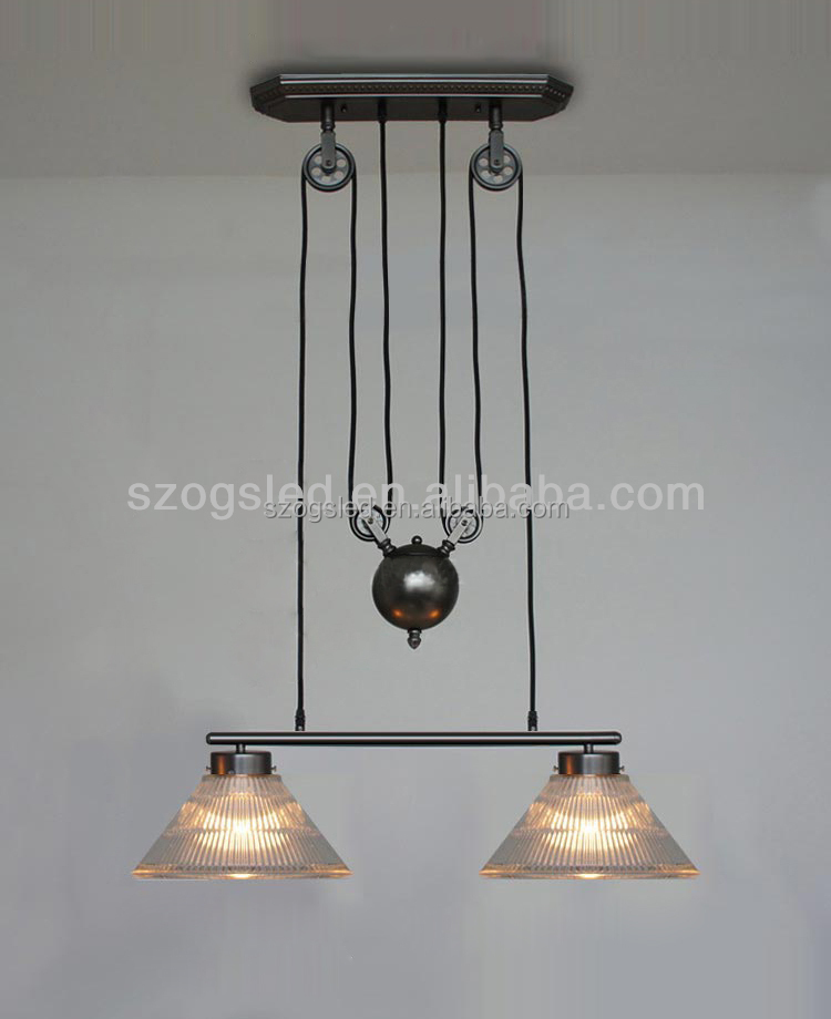 Vintage industrial pulley double bulbs adjustable Pendant lamp