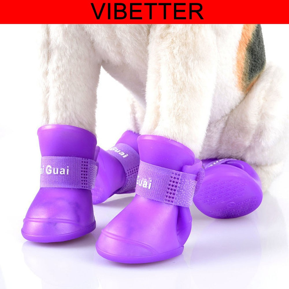 Little Pet Dog Puppy Rain Snow Boots Shoes Booties Candy Colors Rubber Waterproof Anti-slip Pet Shoe Socks for Dogs Cats