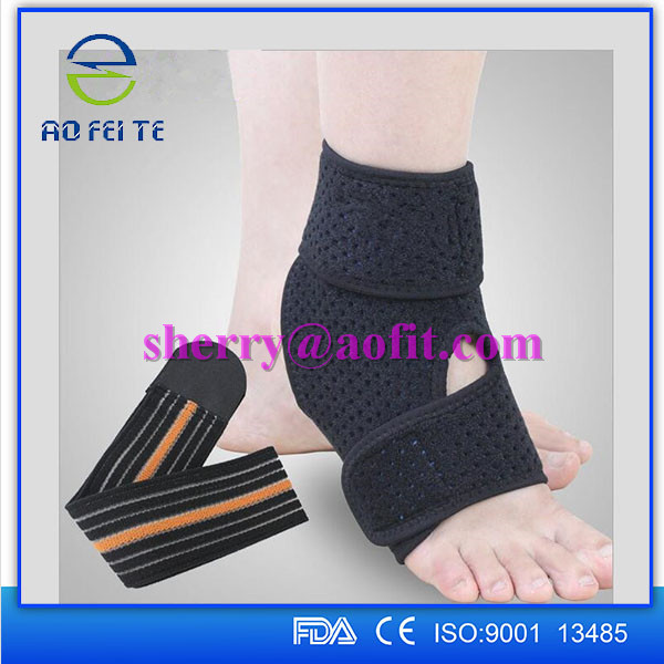 CE High Quality Elastic Compression Ankle Protector Support with Straps Foot Brace