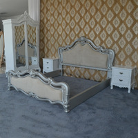 Antique Luxury Silver Queen Double Bed, King Wooden Bed, Bedroom Bed Furniture