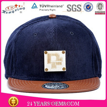 Popular new coming 6 panel custom metal plate snapback hat