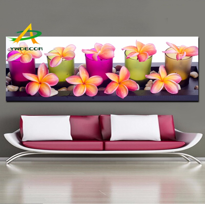 Modern Wall Decor Art LED Light Flower In Glass Candle Painting Lighted On Matt Canvas For Bedroom