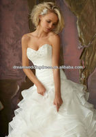 2012 New Coming Strapless Crystal Beading on Ruffled Organza Ball Gown Wedding Gowns And Bridal Dress