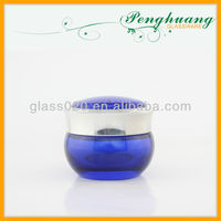 Dark Blue glass jar for body lotion