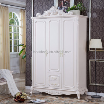 White Antique French European Style 3 Door Carved Wooden Wedding Bedroom Furniture Clothes Cabinet Wardrobe