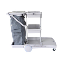 Manufacturer Flexible Plastic Utility Three shelves grey hospital cleaning cart