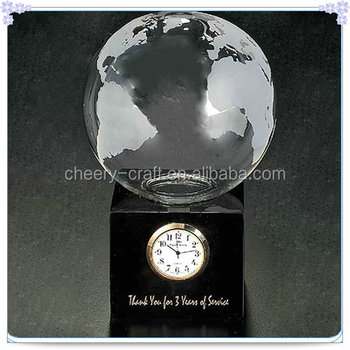 Luxury Personalized Earth Clock With Base For Thanks Gifts