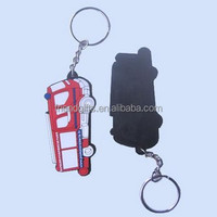 Promotional custom motorcycle/bus/car shaped soft pvc key chain