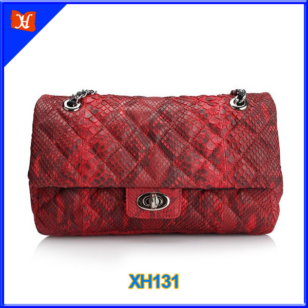 Fashion Exotic Snake Skin Ladies Single Shoulder Flap Bag
