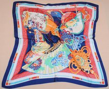 Factory top quality digital printed polyester silk satin square scarf(CSW0407)