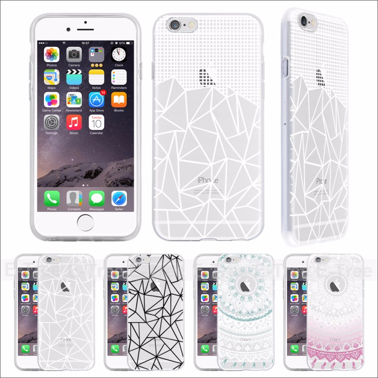 2016 New Fashion Clear Soft Back Durable TPU Partterns Cell Phone Case For Apple iPhone 6 Cover
