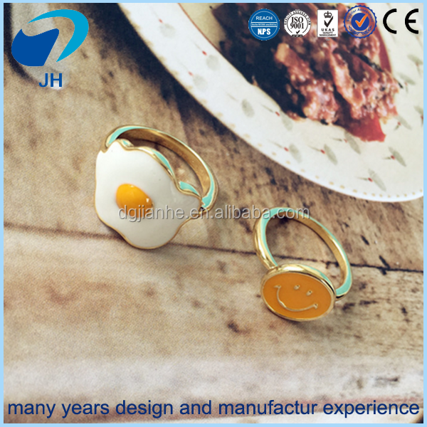 Wholesale funny japanese style omelette and smile face metal ring