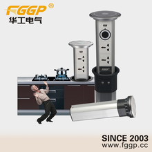 Kitchen Countertop Recessed Consealed Motorized Retractil Pop Up Round Electrical Extension Multi Socket Plug Outlet