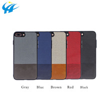 custom design hot sale splicing canvas leather phone case covers shockproof phone case for 4.7inch