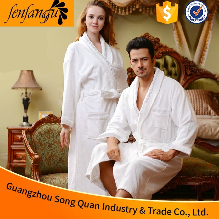 100 Cotton Terry Patterned Cheap Shawl Collar Wholesale Bathrobe for Men