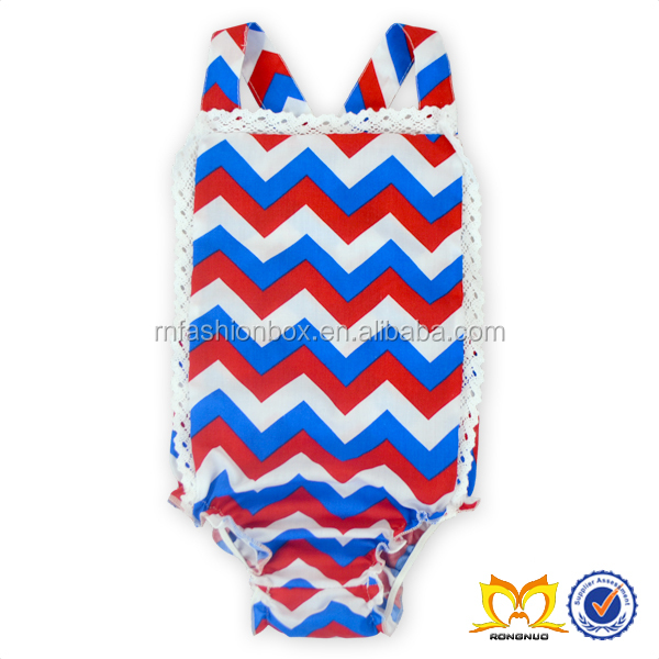 2016 Summer Blue And Red Chevron Romper Baby Rompers Custom Print Baby Clothes Wholesale Price