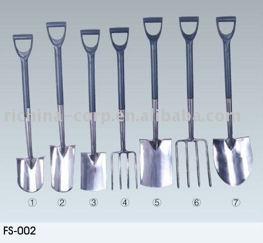 Stainless Spade and Fork, garden tools, stainless steel head