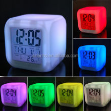 7 Colour LED Changing Digital Alarm Clock Thermometer Date Time Night Light