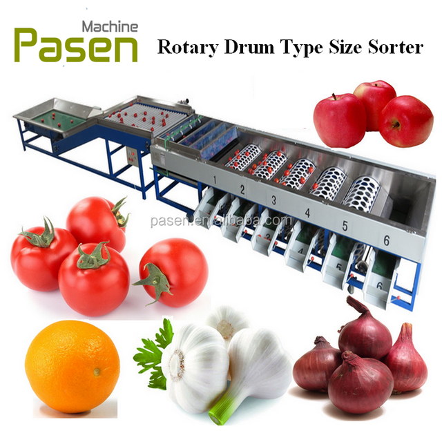 Fruit and Vegetable Grading Machine to sort the apple, orange, cherry tomato, onion, garlic by size