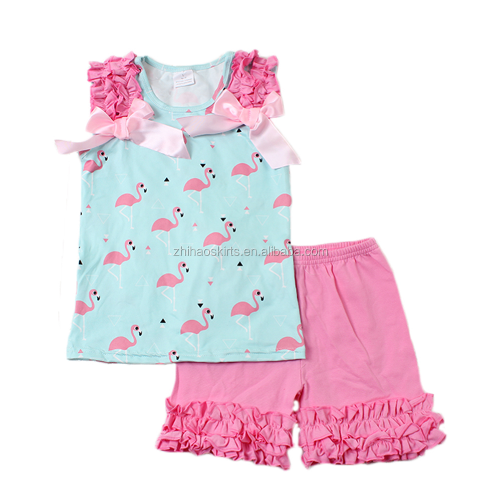 bulk wholesale kids clothing flamingo pattern sleeveless top pink outfit kids export clothing baby clothing have bowknot