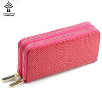 Rfid vegan pu leather ladies blocking card holder double zipper around men's wallets purse with wristlet