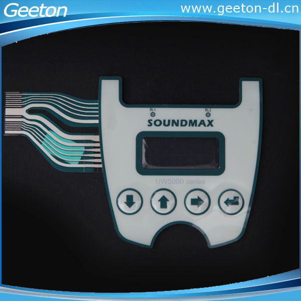 PET Embossed Button Tactile Front Panel Membrane Overlay Electronic Keyboard With Flexible Circuit