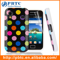 Set Screen Protector And Case For Samsung Galaxy Ace S5830 , Polka Dots Soft Silicon Cute Case