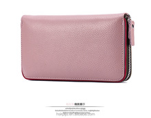 Multifunctional high quality red RFID blocking leather women wallet